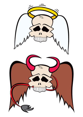 infernal: Skulls from heaven and hell created in cartoon style Illustration