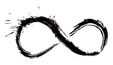 infinito simbolo: Simbolo di infinito creato in stile grunge Vettoriali
