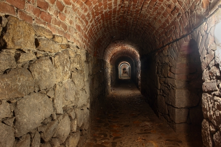 hunted: Tunnel under fortress Klodzko in Poland Stock Photo