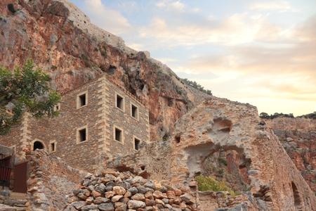 Ruins of old city of Monemvasia in Greece Zdjęcie Seryjne