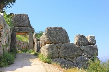 Ruins of old city Mycenae in Greece