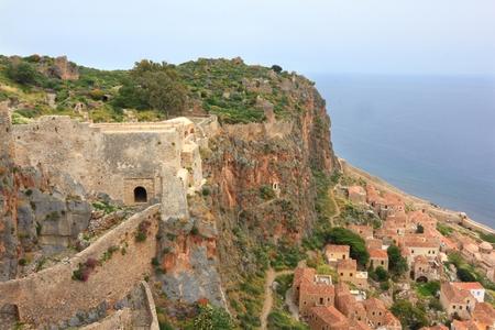Ancient Greek town Monemvasia at coast Zdjęcie Seryjne