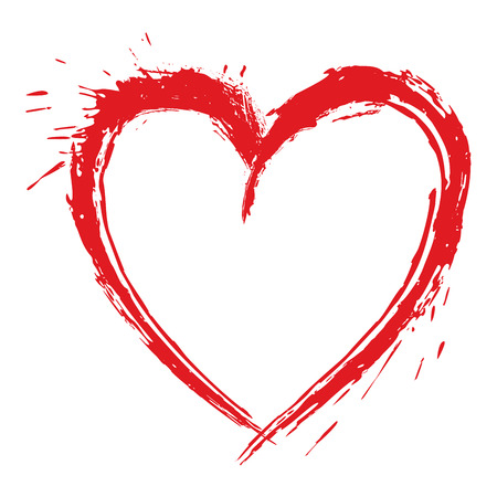 Red heart symbol created in grunge style