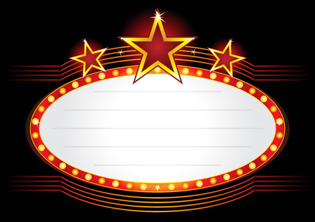 Oval red entertainment sign decorated with bright stars
