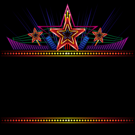 Retro stylized neon sign with shining stars and decorations Ilustracja