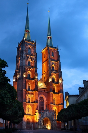 Illuminated Saint John Cathedral Church in Wroclaw, Poland at night