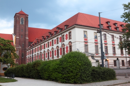Church and old University Library on Island Piasek in Wroclaw, Poland