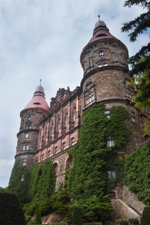 Facade with towers of castle Ksiaz in Walbrzych Poland Publikacyjne