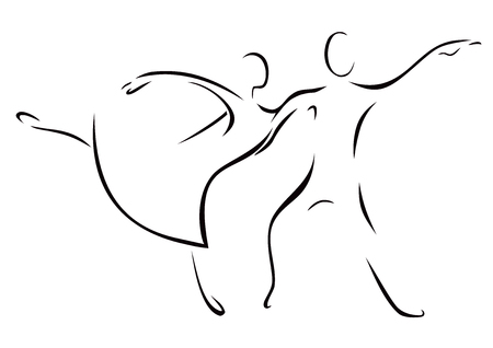Sketch of a dancing woman and man