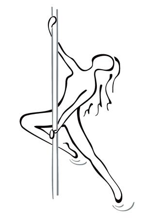 Pole dance pose Ilustracja
