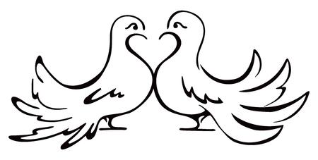 Beloved couple doves on illustration Ilustracja