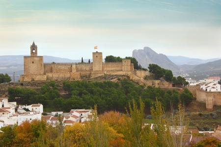 Landscape of Alcazaba of Antequera with mountain Pena de los Enamorados in Spain Zdjęcie Seryjne