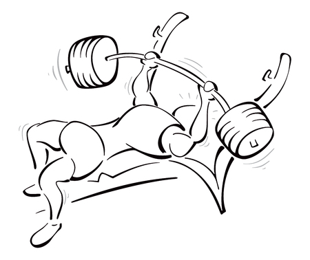Weight lifting training in the gym Ilustracja