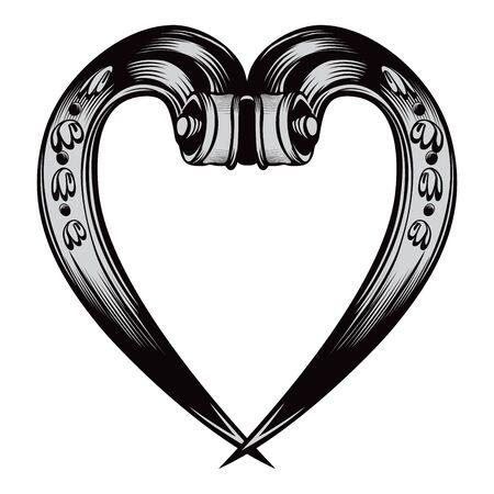 Antique decorative heart emblem