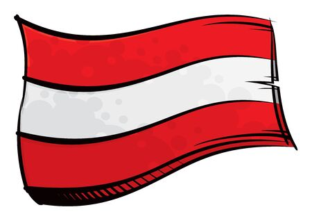Painted Austria flag waving in wind  イラスト・ベクター素材