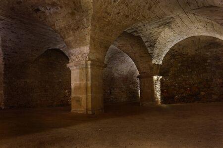 Dark underground of Christian Monastery Krzeszow in Poland