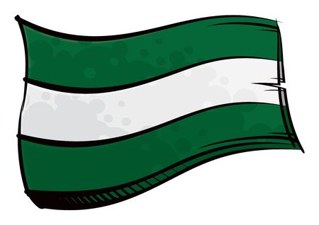 Painted Andalusia flag waving in wind Ilustracja
