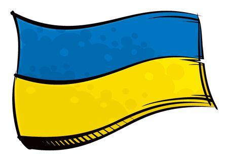 Painted Ukraine flag waving in wind