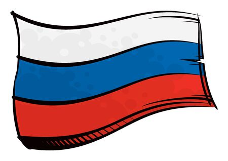 Painted Russia flag waving in wind