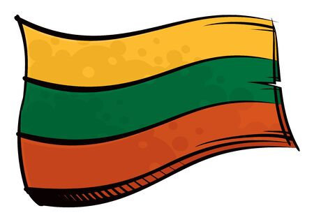 Painted Lithuania flag waving in wind Ilustracja