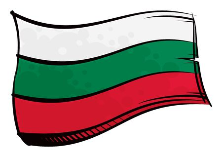 Painted Bulgaria flag waving in wind Ilustracja