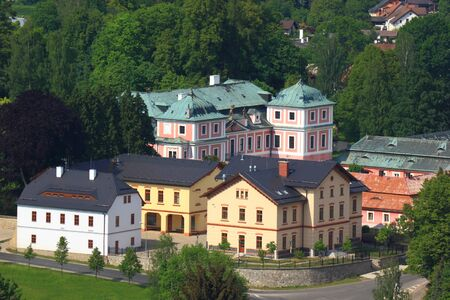 View from above at Sloup with castle in Czech Republic Publikacyjne