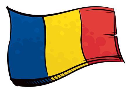 Painted Romania flag waving in wind Ilustracja