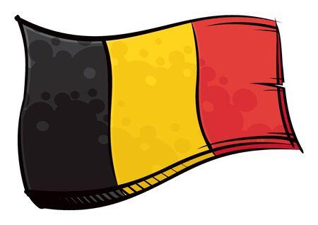 Painted Belgium flag waving in wind Ilustracja