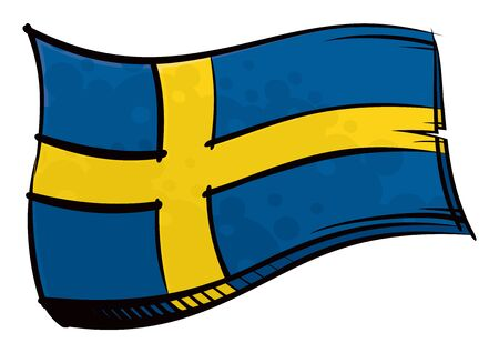 Painted Sweden flag waving in wind