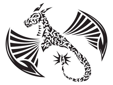 Winged Dragon in tribal tattoo style