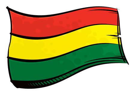 Painted Bolivia flag waving in wind