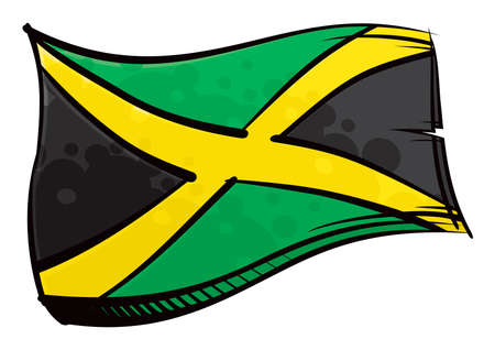 Jamaica national flag created in graffiti paint style