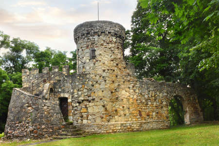Old town fortifications with tower in Krapkowice Poland 版權商用圖片