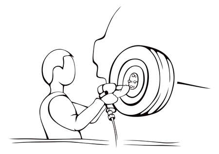 Auto mechanic replacing wheel with air wrench Vector Illustration