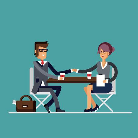 negotiator: Successful business negotiations. Closed deal handshake over a desk