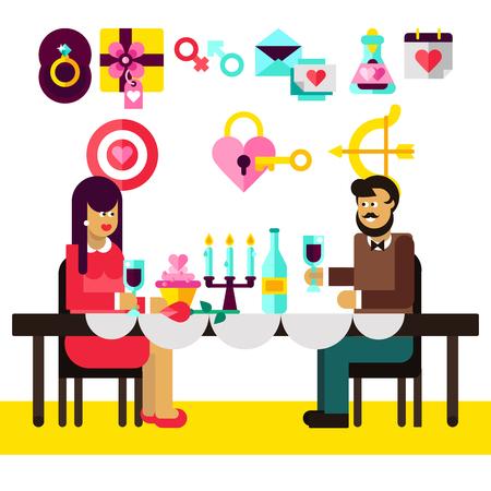 promenade: Romantic dinner of lovely couple