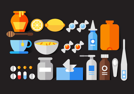 Flat vector icon set of cold and flu