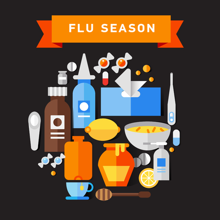 influenza: Flat vector icon set of cold and flu