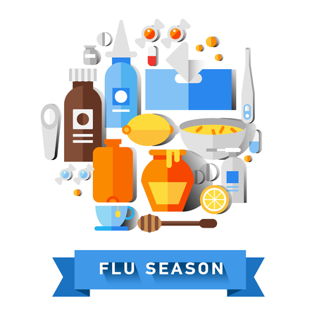 nasal: Flat vector icon set of cold and flu