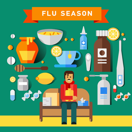 throat: Flat vector icon set of cold and flu season
