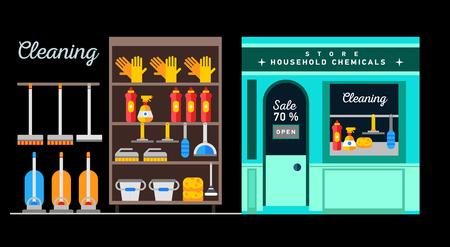 mujer en el supermercado: Flat illustration rack of home appliances Vectores