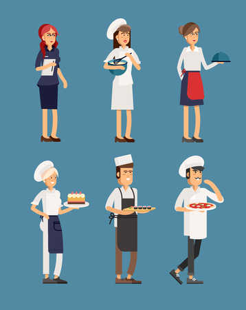 host: Lovely line-up group of restaurant staff characters