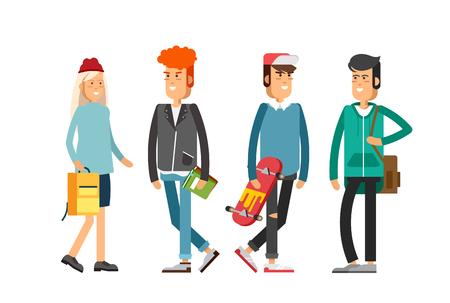 Flat illustratuion set of students. Fashio modern people.