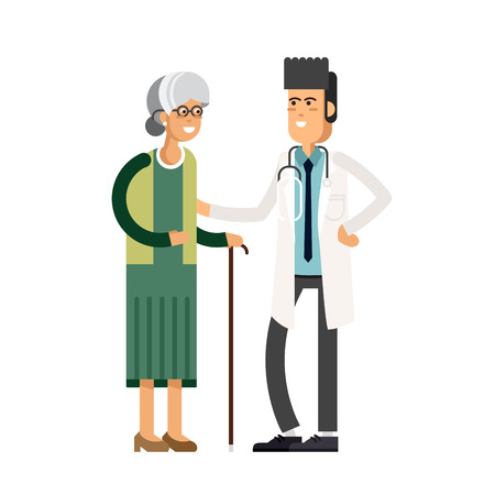 Male doctor helping a grandmother