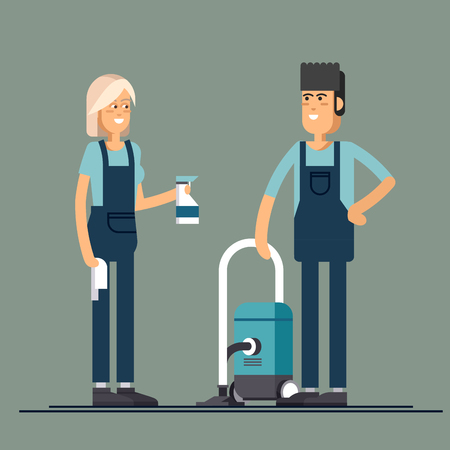 cleaning crew: Cleaning company vector concept design.
