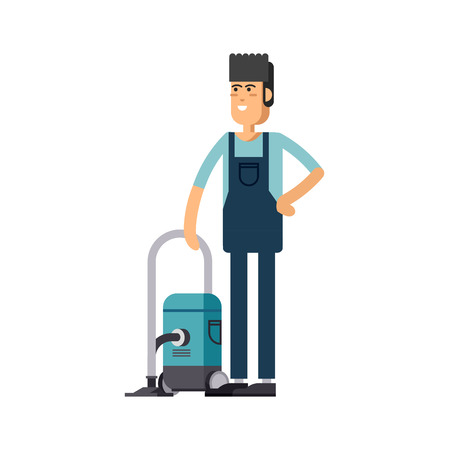 carpet clean: Worker of cleaning service Illustration