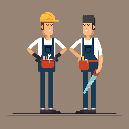 Couple of construction workers vector flat characters