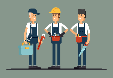 civil construction: Couple of construction workers vector flat characters
