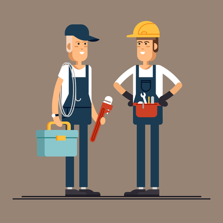 Cool vector plumber male character standing holding tool