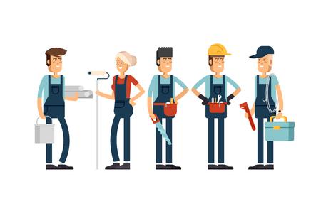 Diseño de concepto Cool vector en caracteres de equipo de construcción Ilustración de vector